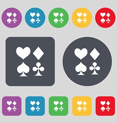 Card suit icon sign a set of 12 colored buttons vector