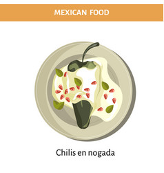 Chilis en nogada with tender sauce from mexican vector