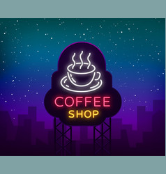 Coffee neon sign logo emblem vector