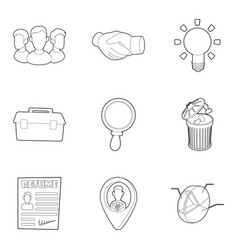 Command icons set outline style vector