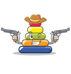 Cowboy pyramid ring character cartoon vector