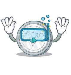 Diving tron coin character cartoon vector