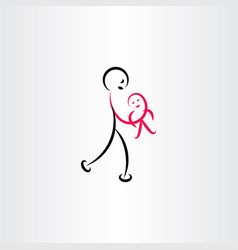 Father holding baby symbol vector