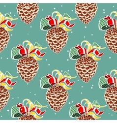 Fir cones on blue vector