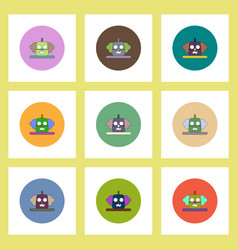 flat icons halloween set of clown pumpkin concept vector image vector image