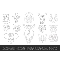 Front view of animal head triangular icon set vector