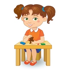 Girl making plasticine figures cartoon vector