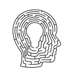head idea labyrinth lamp sig vector image
