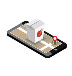 Isometric city food delivering wok mobile vector