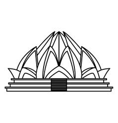 Lotus temple architecture vector
