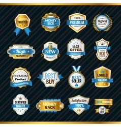 Luxury Labels Gold And Blue vector image vector image