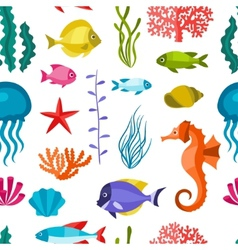 Marine life seamless pattern with sea animals vector