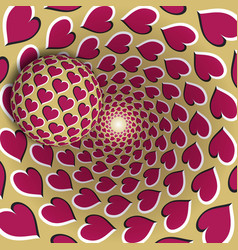 Optical a ball with a hearts pattern vector