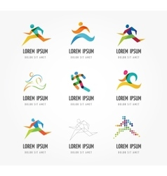 Running marathon people run colorful icon set vector