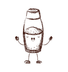 Salt container cartoon in brown blurred silhouette vector