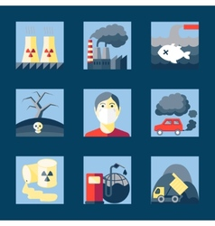 Set of pollution icons vector