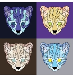 Low poly lined ocelots set vector image