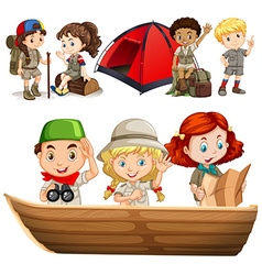 Boys and girls with camping equipment vector