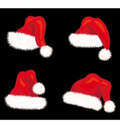 Winter santa claus hats set vector