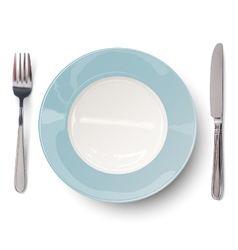 Empty plate in blue design with knife and fork vector
