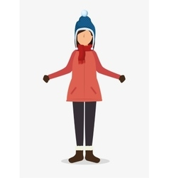 Avatar person with winter clothes vector
