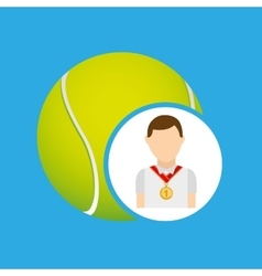 athlete medal tennis ball icon graphic vector image