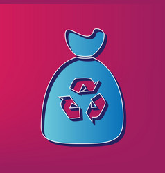 Trash bag icon  blue 3d printed icon on vector