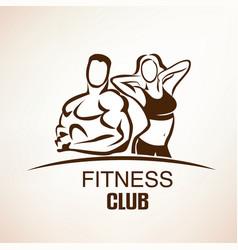 Fitness symbol outlined sketch emblem or label vector