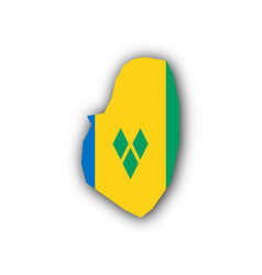 Map and flag of saint vincent and the grenadines vector