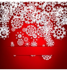 Red background with paper snowflakes vector