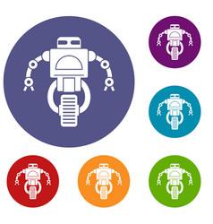 Machine robot icons set vector