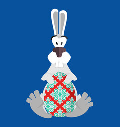 Easter painted egg and bunny religious holiday vector