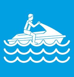 Man on jet ski rides icon white vector