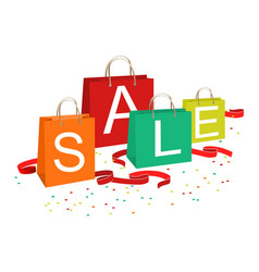 Shopping bags and sale text vector