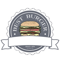 Best burger label stamp banner design element vector