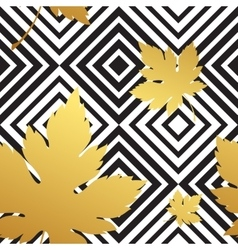 Geometric seamless leaf repeat pattern in black vector
