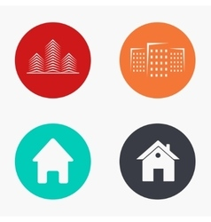 Modern real estate colorful icons set vector