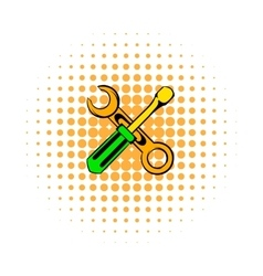 Screwdriver and spanner comics icon vector