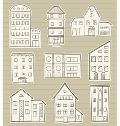 set of houses doodle vector image