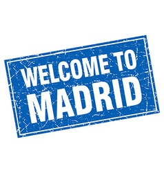 Madrid blue square grunge welcome to stamp vector