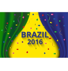 Abstract banner curtain color of brazil flag vector