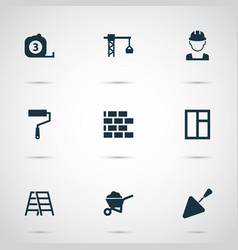 Architecture icons set collection of lifting hook vector
