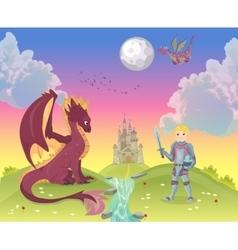 Cartoon knight with dragon vector image vector image
