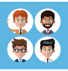 Cartoon set portrait men business work vector