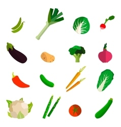 Colorful fruits and vegetables set on white vector image