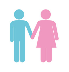 Colorful pictogram silhouette couple holding hands vector