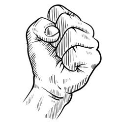 doodle hand fist protest concert rebel vector image