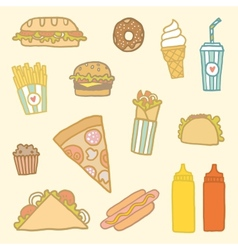 Fastfood cartoon set vector image
