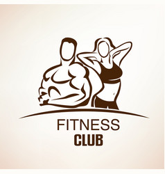 fitness symbol outlined sketch emblem or label vector image vector image