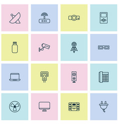 Gadget icons set with monitor boombox socket and vector